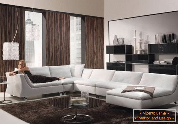 Design of the living room and curtains in high-tech style