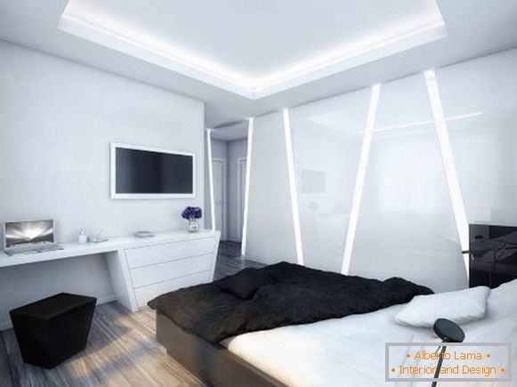 Futuristic interior of the bedroom in high-tech style