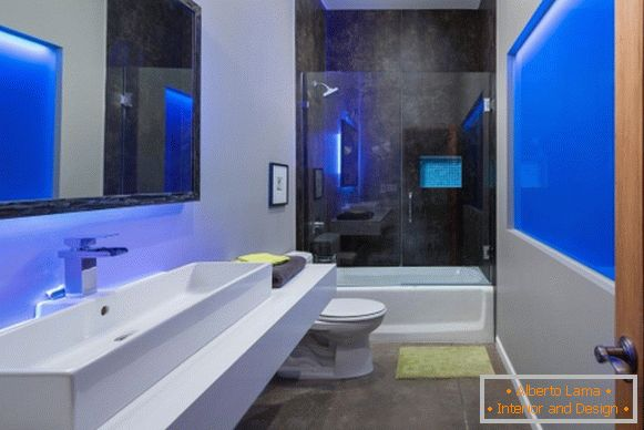 Design in high-tech style - photo of stylish bathroom