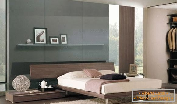 Modern bedroom in high-tech style - color scheme