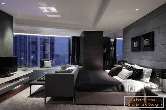 Gray bedroom in high-tech style