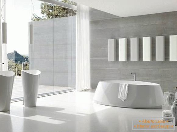 White bathroom in high-tech style