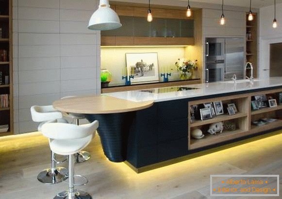 High-tech style in the interior - photo of the kitchen in the house