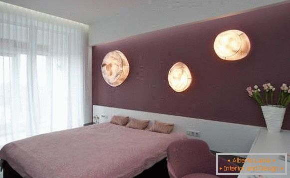 High-tech style - photo curtains in the bedroom