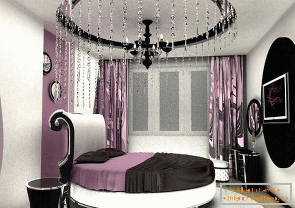 High-tech style in the interior of the bedroom - photo curtains