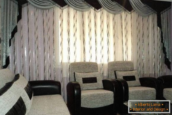 Lurex curtains in high-tech style