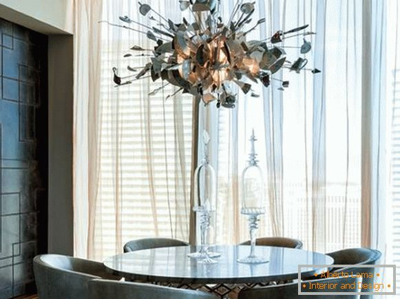 Unusual chandelier in the style of high tech