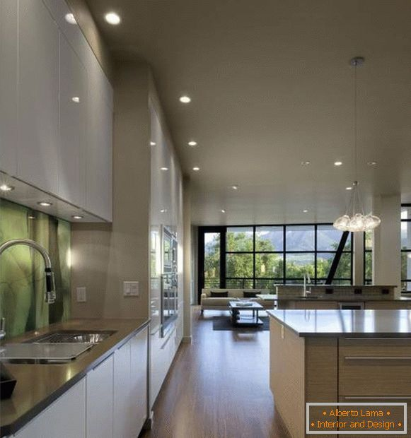 Kitchen design in a house in high-tech style