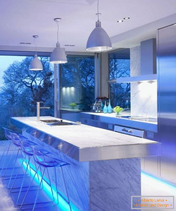 Futuristic style of High Tech in the interior of the kitchen