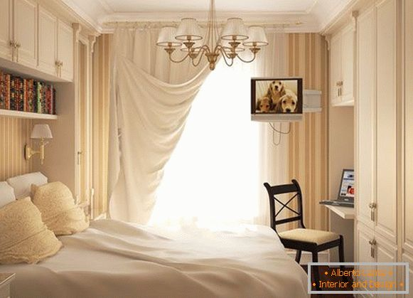 Luxurious bedroom in a dairy color