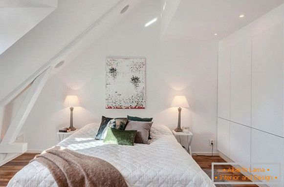 Comfortable bedroom in the attic