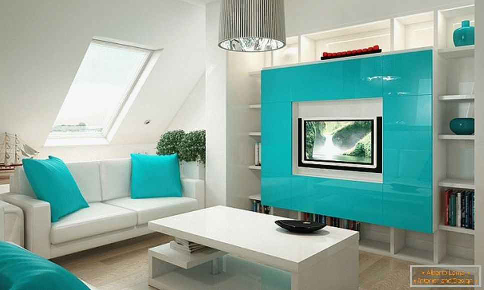 Turquoise accents in the design of a small apartment