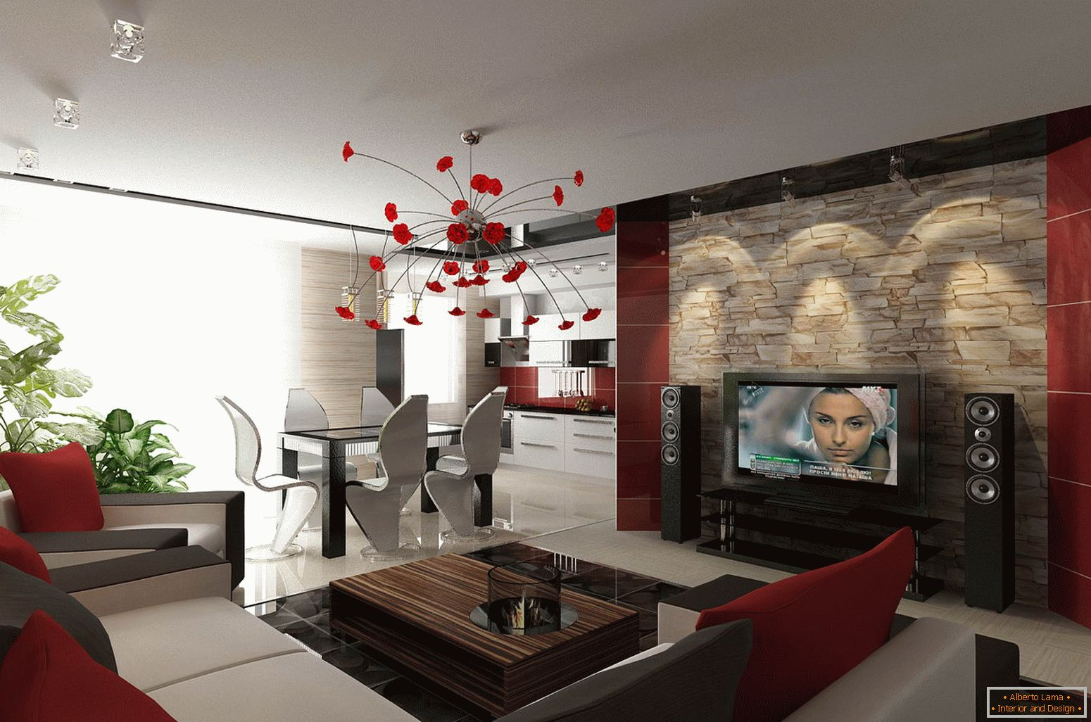 Red accents in the design of a small apartment