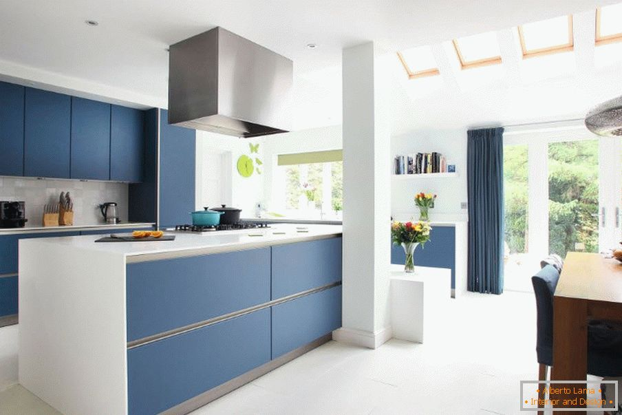 Blue Kitchen in the Interior