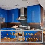 A bright shade of blue in the interior of the kitchen