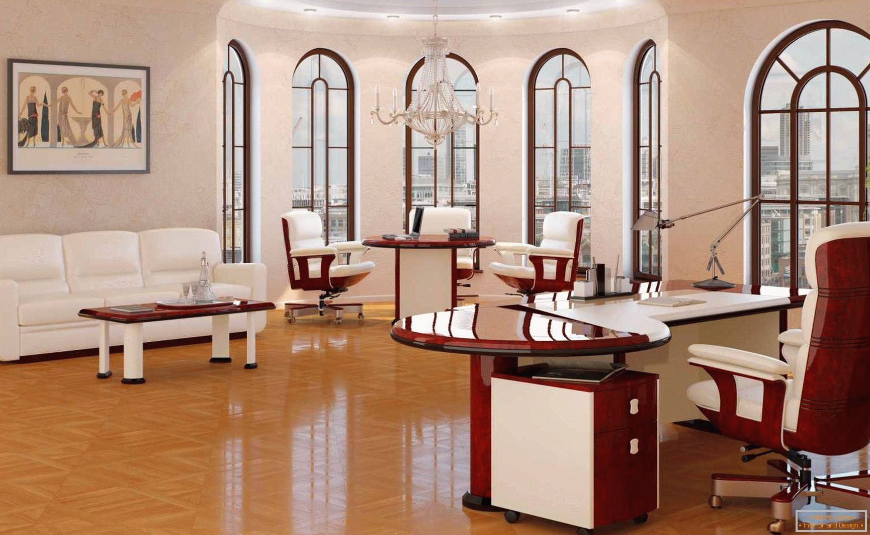 Bright office in classical style