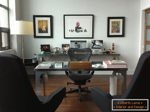 Elegant design of the office in the apartment