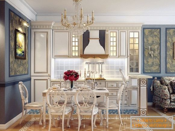 Kitchen in classical style, combined with the living room