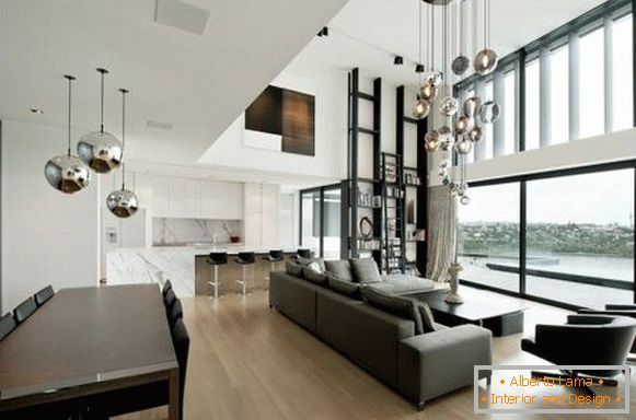 Ultra modern chandelier in the living room