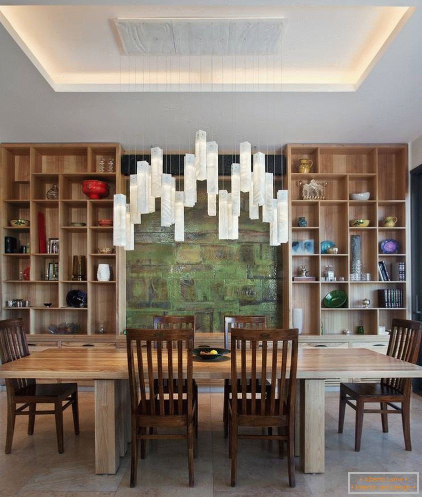 Luxurious modern chandelier over the table