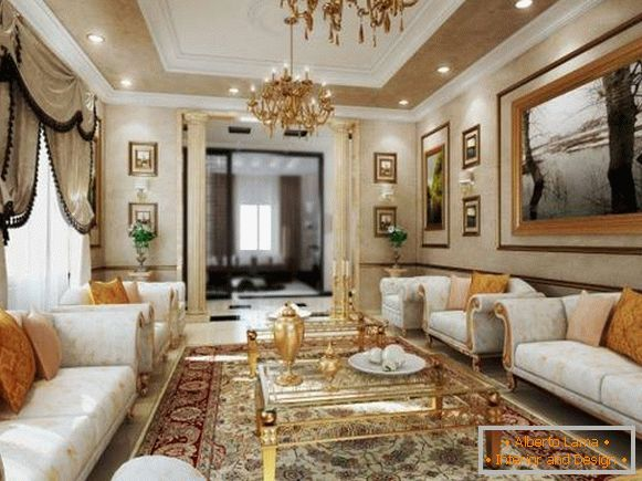Living room with chandeliers and gold-tinted decor