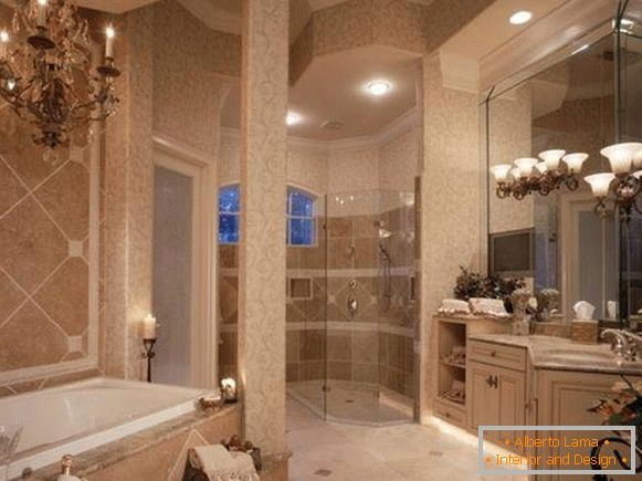 Luxurious bathroom with chandelier