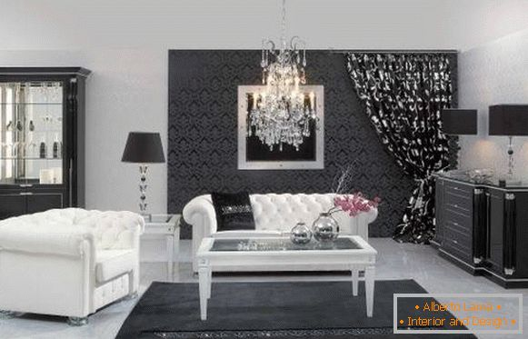 Black and white room with a crystal chandelier