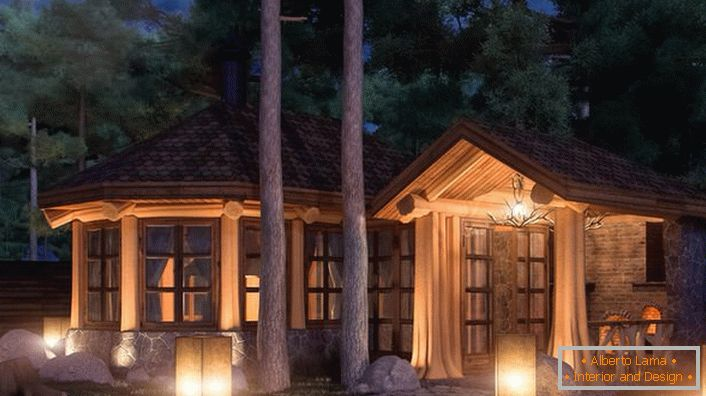 A glazed gazebo in the style of a chalet is also suitable for winter holidays. Properly selected lighting makes the situation mysterious and romantic.