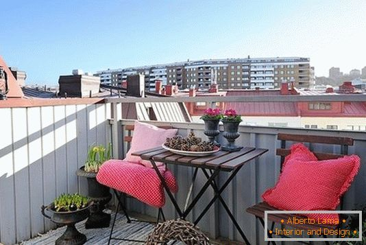 Cozy veranda on a small balcony