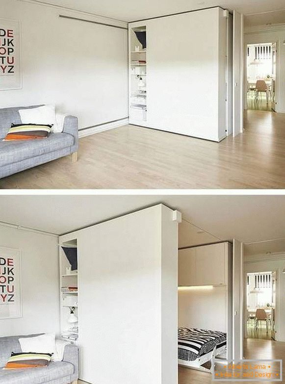 to arrange furniture in a one-room apartment of 40 sq. m, photo 11
