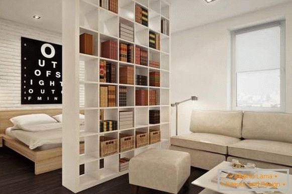 to arrange furniture in a one-room apartment of 40 sq. m, photo 23