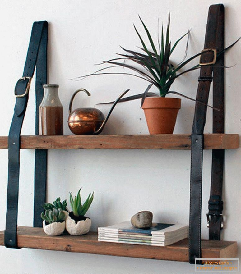 Rope bookshelf for the living room