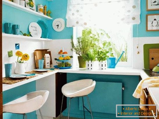 Interior of a small kitchen in turquoise color