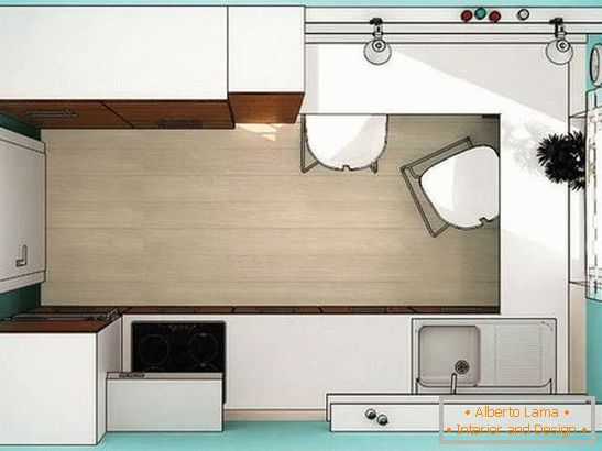 The plan of a small kitchen in turquoise color