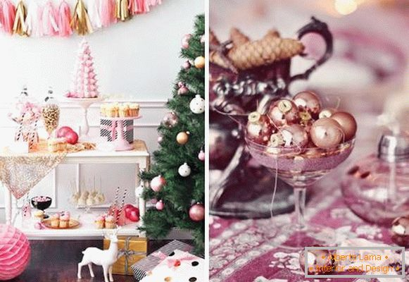2016 New Year - interior decoration in pink color