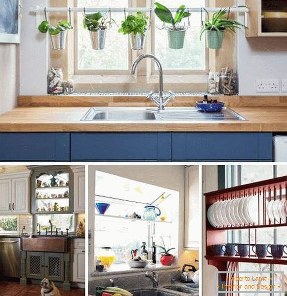 How to decorate a window in the kitchen - the ideas of shelves with your own hands