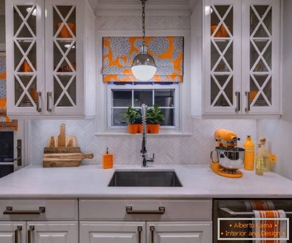 Kitchen decor with own hands with bright utensils, dishes and curtains