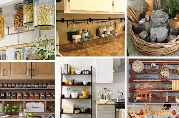 How to decorate the kitchen with your hands with jars and organizers