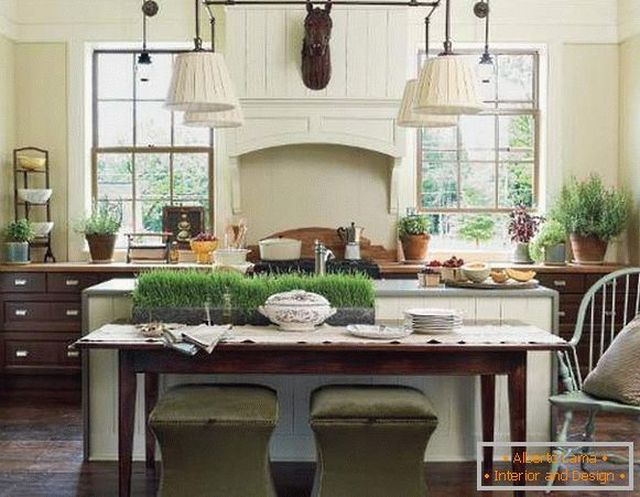How to decorate the kitchen - green grass in the interior