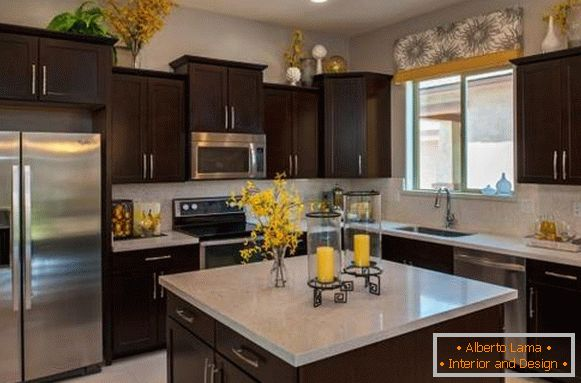 Yellow kitchen decor in interior design - photo