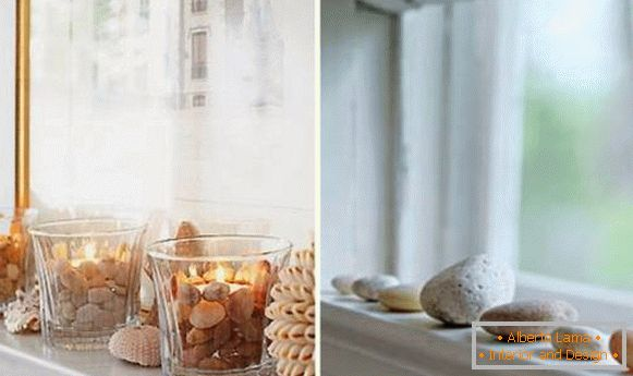 Window sill decoration with natural materials