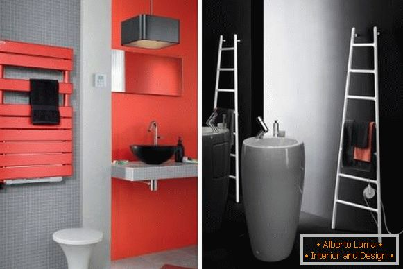 Electric towel rail for bathroom - photo models