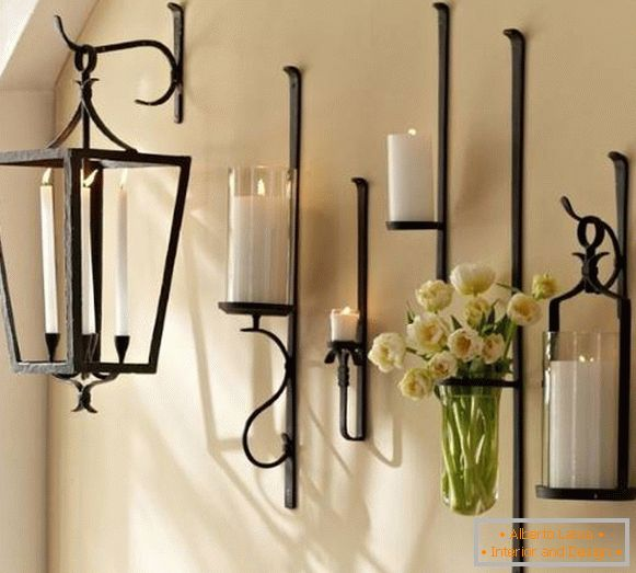 Unusual wall candlesticks forged - photo set
