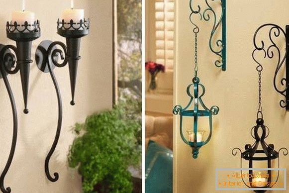 Forged candlesticks for decorating walls in the house