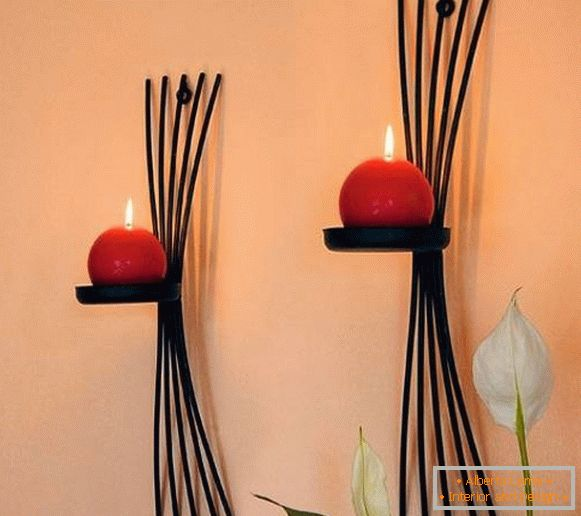 Original modern forged candlesticks