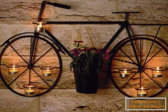 Creative forged candlestick Bicycle - photo on the wall