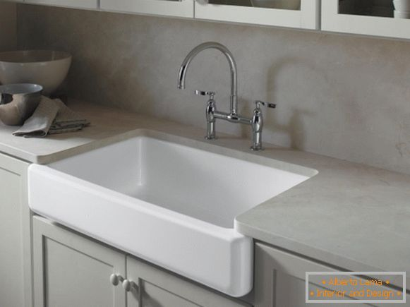 Built-in sink and gray furniture in kitchen design 2015