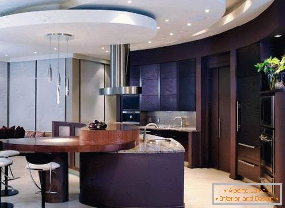 Tiered ceilings in kitchen design 2015
