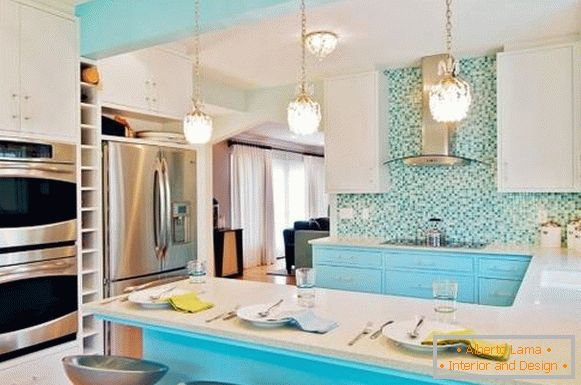 Kitchen design in blue 2015