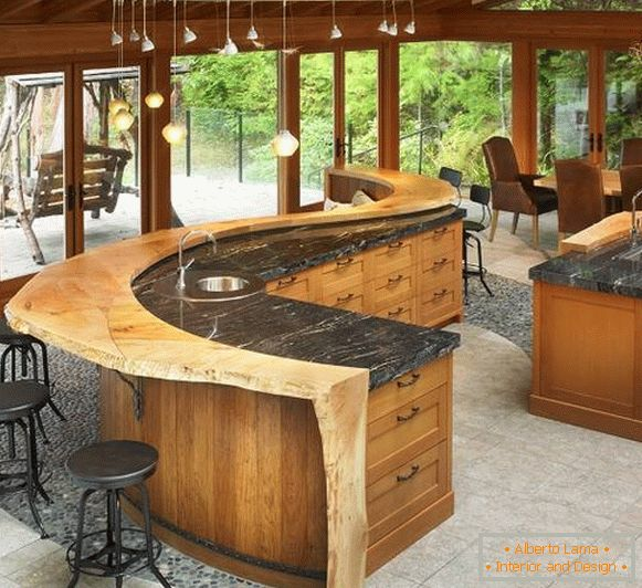 Unpainted wood and marble - kitchen design 2015